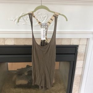 olive green crochet top NWT